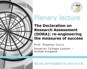 "Plenary Lecture: ""The Declaration on Research Assessment (DORA): re-engineering the measures of success"""