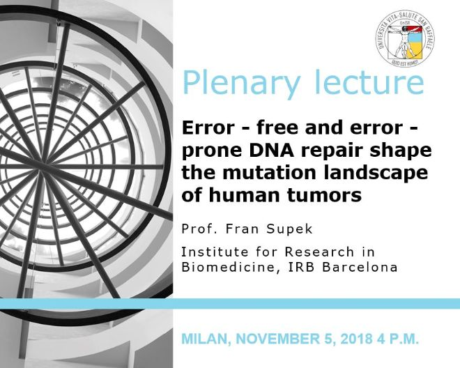 "Plenary Lecture: ""Error-free and error-prone DNA repair shape the mutation landscape of human tumors"""