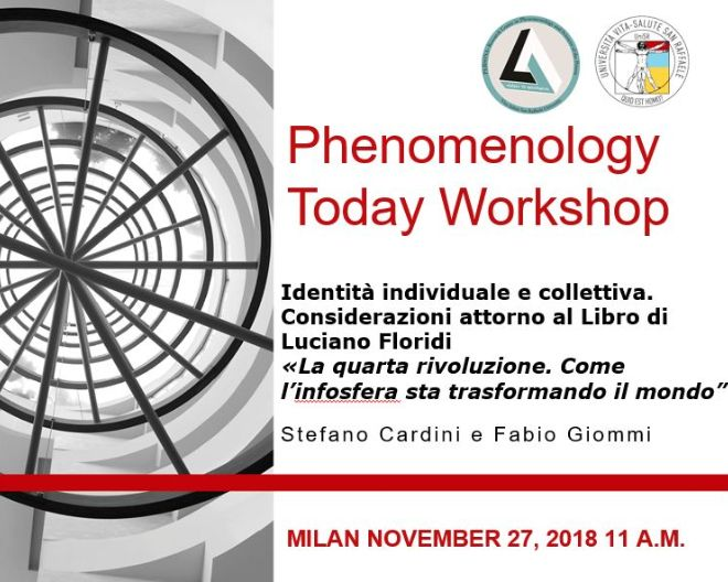 Workshop Phenomenology Today: riprendono il 27 novembre gli appuntamenti